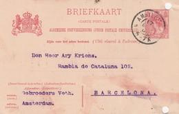 PAYS-BAS - BRIEFKAART 1905 AMSTERDAM TO BARCELONA /1 - Periode 1891-1948 (Wilhelmina)
