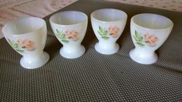 LOT De 4 COQUETIERS En VERRE OPALINE - Décor De Fleur ROSE - 5cm - Dishware, Glassware, & Cutlery