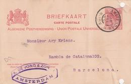 PAYS-BAS - BRIEFKAART 1906 AMTERDAM TO BARCELONA /1 - Periode 1891-1948 (Wilhelmina)