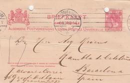 PAYS-BAS - BRIEFKAART 1907 GRAVENHAGE TO BARCELONA /1 - Periode 1891-1948 (Wilhelmina)