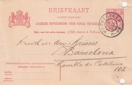 PAYS-BAS - BRIEFKAART 1905 WORMERVEER TO BARCELONA /1 - Periode 1891-1948 (Wilhelmina)