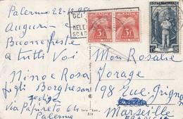 FRANCE -  CARTE ITALIE PALERMO 15 LIRES POUR MARSEILLE TAXE 3FX2 GERBE 1954   / 2 - Marcophilie (Lettres)