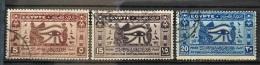 E24 - Egypt 1937 SG 259-261 Complete Set 3v. - 15th Ophtalmological Congress, Medicine - Used Stamps