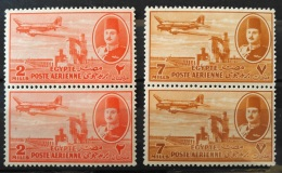 E24 - Egypt 1947 SG 322 2M & SG 325 7M MNH Stamps - Air Mail - King Farouq, Delta Barrage & Douglas DC-3 Airline - Nuovi