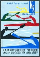 Denmark Danmark Dänemark Struer Kajak Kayak ROWING Rudern Aviron Canoe Vignette Poster Reklamemarke Cinderella Label MNH - Canoe