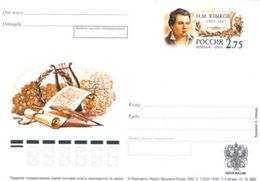 2003-132 Postal Card Stamped Stationery Russia Russie N.Yazykov, The Poet. Writer - Scrittori