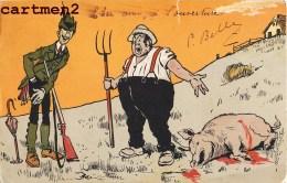 CHASSE HUMOUR CHASSEUR FERMIER COCHON HUNT HUNTER HUMOR ILLUSTRATOR 1900 - Hunting