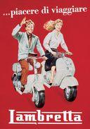 Motocycle Lambretta Piacere Di Viaggiare - Postcard - Poster Reproduction - Advertising