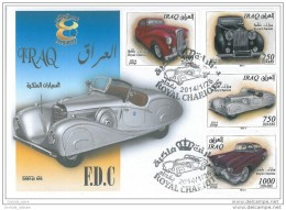 Iraq NEW 2015 Issue - ROYAL CARS Complete Set On FDC - Classic Cars Of The Kings Of Iraq - Iraq