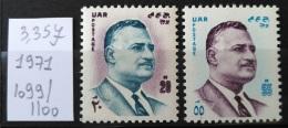 E24 - Egypt 1971 SG 1099-1100 Complete Set 2v. MNH - In Memory Of President Nasser - Égypte
