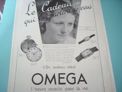 ANCIENNE PUBLICITE MONTRE OMEGA L HEURE EXACTE POUR LA VIE  1932 - Autres