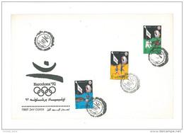 KUWAIT 1992 Nice FDC - Bercelona 92 Olympic Games - Spain - Sports - Football - Basketball - Horse Riding - Kuwait