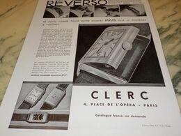 ANCIENNE PUBLICITE MONTRE REVERSO VENDU CHEZ CLERC 1932 - Autres