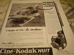 ANCIENNE PUBLICITE POURQUOI NE PAS LE FILMER CINE-KODAK HUIT 1939 - Otros