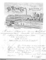 Facture Ancienne Illustrée . D. Rivage, Papiers, Paris Rue Rebéval (19e Arr.) 1904 - Imprimerie & Papeterie