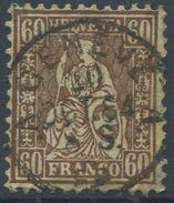 1647 - 60 Rp. Sitzende Helvetia Mit Vollstempel GENÈVE 1864 - 1862-1881 Sitzende Helvetia (gezähnt)
