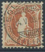1648 - 30 Rp. Stehende Helvetia (Faser) Mit Vollstempel SOLOTHURN 14.V.08 - SBK Katalogwert CHF 650.00 - Gebraucht