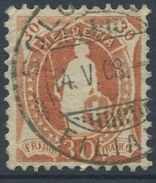 1648 - 30 Rp. Stehende Helvetia (Faser) Mit Vollstempel SOLOTHURN 14.V.08 - SBK Katalogwert CHF 650.00 - 1882-1906 Wappen, Stehende Helvetia & UPU