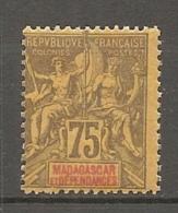 MADAGASCAR - YV N°  39  *  75c  Violet S Jaune  Cote  7,5 Euro  BE  2 Scans - Ungebraucht