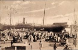 Cp Tunis Tunesien, Pelerinage De La Meque, Pilger Nach Mekka Im Hafen - Tunesien