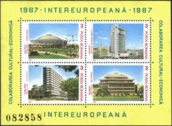 Romania 1987 Architecture Building School Hotel Pavilion Holiday Tourism EUROPE EUROPA M/S Stamp MNH SG#MS5100 - Hotels, Restaurants & Cafés