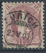 1649 - 1 Fr. Stehende Helvetia Mit Vollstempel ZÜRICH 22.V.01 - 1882-1906 Wappen, Stehende Helvetia & UPU