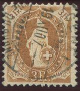 1654 -  3 Fr. Stehende Helvetia Mit Retusche - Marke Signiert Moser Und Mit Attest Renggli - Gebraucht