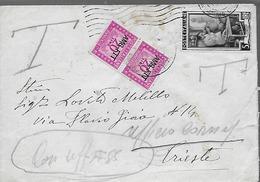 1953 AMG FTT - Lettera Ordinaria Da Bagnoli Per Trieste - Tassata In Arrivo - Marcophilie