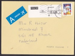 Belgium: Airmail Cover To Netherlands, 2010, Stamp & ATM Machine Label, Santa Claus, Christmas (traces Of Use) - Belgium