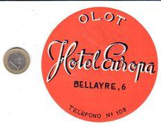 ETIQUETA DE HOTEL  -  HOTEL EUROPA  -OLOT - Hotel Labels