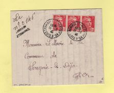 Marianne De Gandon - Recommande De Fortune - Chambolle Musigny - Cote D Or - 18-10-1946 - Postmark Collection (Covers)