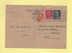 Marianne De Gandon - Entier Repiquage Amis Des Sciences - 25-5-1949 - Postmark Collection (Covers)