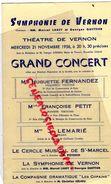 27 - VERNON - PROGRAMME THEATRE- MARCEL LABEY GEORGES QUETTIER-CONCERT 22-11-1956-HUGUETTE FERNANDEZ-VIOLON-PETIT - Programmi