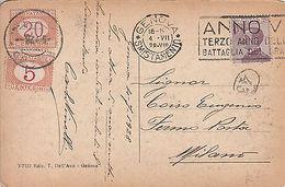 Italy: Postcard, Genova Smistamento To Milan, Two Postage Dues, 4 August 1928 - Italy