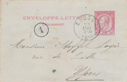 YY196 - Enveloppe - Lettre Emission 1884 EESSEN 1891 Vers YPRES - Signé Vlaminck - NIPA 300 X 3 - Entiers Postaux