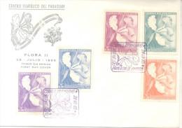 ORQUIDEAS PARAGUAY SERIE DE 1965 FLORA II FDC SOBRE - Orchids
