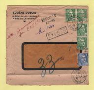 Marianne De Gandon - Recommande Provisoire Par Expres - Abbeville Somme - 1-7-1946 - Postmark Collection (Covers)