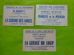 3 Billets D'entree Theatre De La Potiniere-porte St Martin-des Capucines (jacques Meyran-robert Murzeau Etc... - Tickets D'entrée