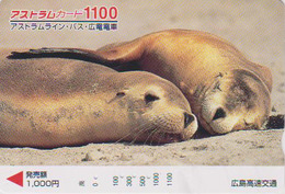 Carte Prépayée Japon - ANIMAL - PHOQUE OTARIE - SEA LION Japan Prepaid Card - SEEHUND Karte - BE FR 314 - Tarjetas Telefónicas
