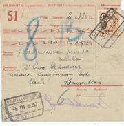 YY200 - Formule De Colis Postal TP Houyoux COLIS POSTAL à 4 F - Cachet De Gare LAUWE 1930 Vers BXL NORD - 1923-1941