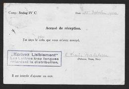 Carte D'un Prisonnier De Guerre-   Stalag IV C - Accusé De Réception D'un Colis - Marcofilie (Brieven)