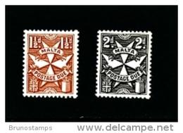 MALTA - 1970  POSTAGE DUES  GLAZED  PAPER  SET  MINT NH - Malta