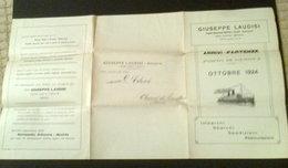 GIUSEPPE LAUDISI TRASPORTI INTERNAZIONALI MARITTIMI E TERRESTRI - ARRIVI E PARTENZE PORTO DI GENOVA - OTTOBRE 1924 - Titres De Transport