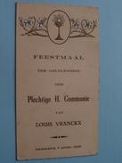 MERKSEM : Feestmaal H. COMMUNIE : Louis VRANCKX 7 April 1935 > Cools August ( Zie Foto Voor Details ) !! - Menus
