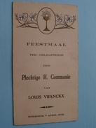MERKSEM : Feestmaal H. COMMUNIE : Louis VRANCKX 7 April 1935 > Mevr. Cools August ( Zie Foto Voor Details ) !! - Menus