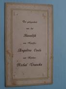 BORGERHOUT : Menu HUWELIJK : Angelina COOLS & Michel VRANCKX 17 Februari 1912 + XTRA 2 X DP ( Zie Foto Voor Details ) !! - Menus