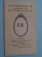 DEURNE Zuid : Feestmaal HUWELIJK Emilie COOLS & Henri POPPE 15 Mei 1926 ( Zie Foto Voor Details ) ! - Menus