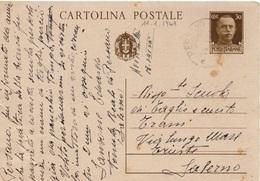 Persano (Serre - Salerno) Per Salerno - 11.1.1941 - Cartolina Postale Da 30c. Imperiale - 1900-44 Victor Emmanuel III