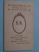 DEURNE Zuid : Feestmaal HUWELIJK Emilie COOLS & Henri POPPE 15 Mei 1926 + XTRA Foto Emilie & Henri ( Zie Foto's ) ! - Menus