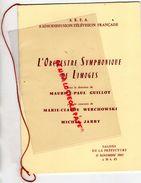 87 - LIMOGES - PROGRAMME ORCHESTRE SYMPHONIQUE -MAURICE PAUL GUILLOT-MARIE CLAUDE WERCHOWSKI-MICHEL JARRY-11-11-1961 - Programmi
